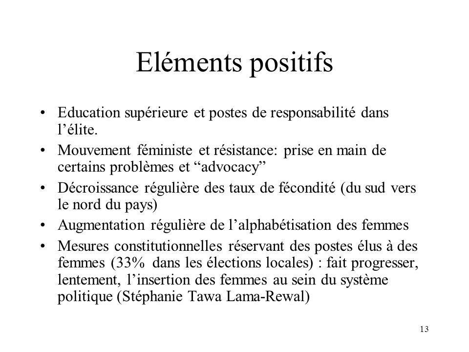 13 Eléments positifs Education supérieure et postes de responsabilité dans lélite.