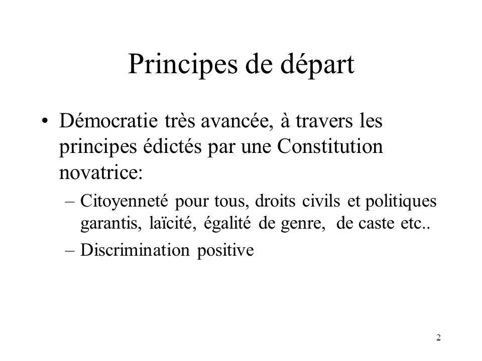 2 Principes de départ Démocratie très avancée, à travers les principes édictés par une Constitution novatrice: –Citoyenneté pour tous, droits civils et politiques garantis, laïcité, égalité de genre, de caste etc..