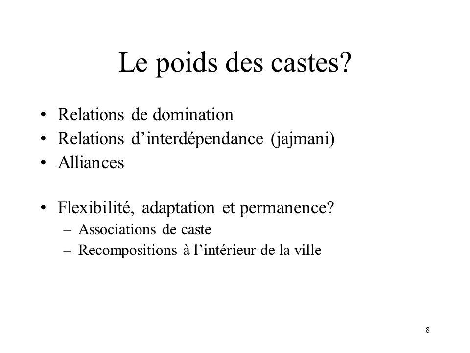 8 Le poids des castes? Relations de domination Relations dinterdépendance (jajmani) Alliances Flexibilité, adaptation et permanence? –Associations de