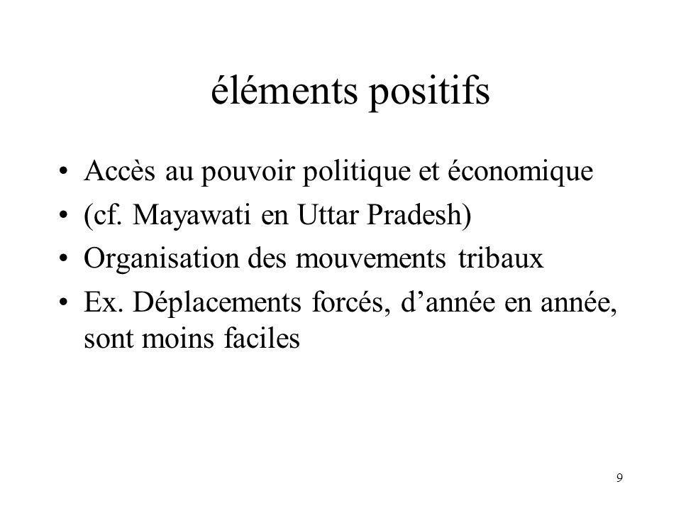 9 éléments positifs Accès au pouvoir politique et économique (cf.