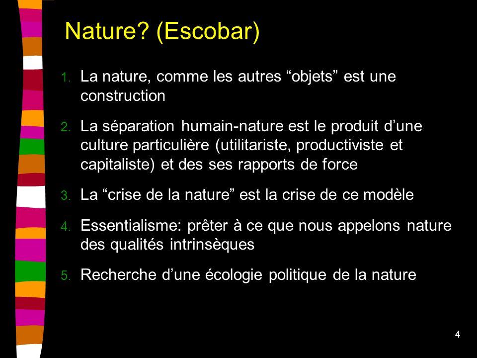 4 Nature. (Escobar) 1. La nature, comme les autres objets est une construction 2.