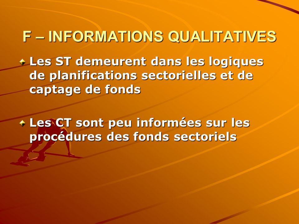 F – INFORMATIONS QUALITATIVES Les ST demeurent dans les logiques de planifications sectorielles et de captage de fonds Les CT sont peu informées sur les procédures des fonds sectoriels