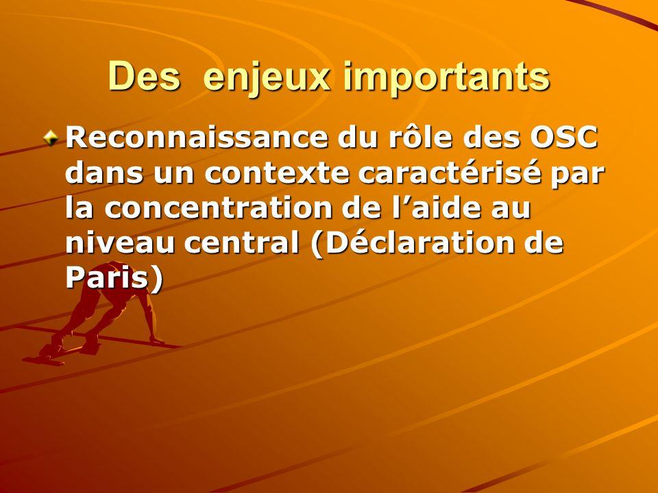 Des enjeux importants Reconnaissance du rôle des OSC dans un contexte caractérisé par la concentration de laide au niveau central (Déclaration de Pari