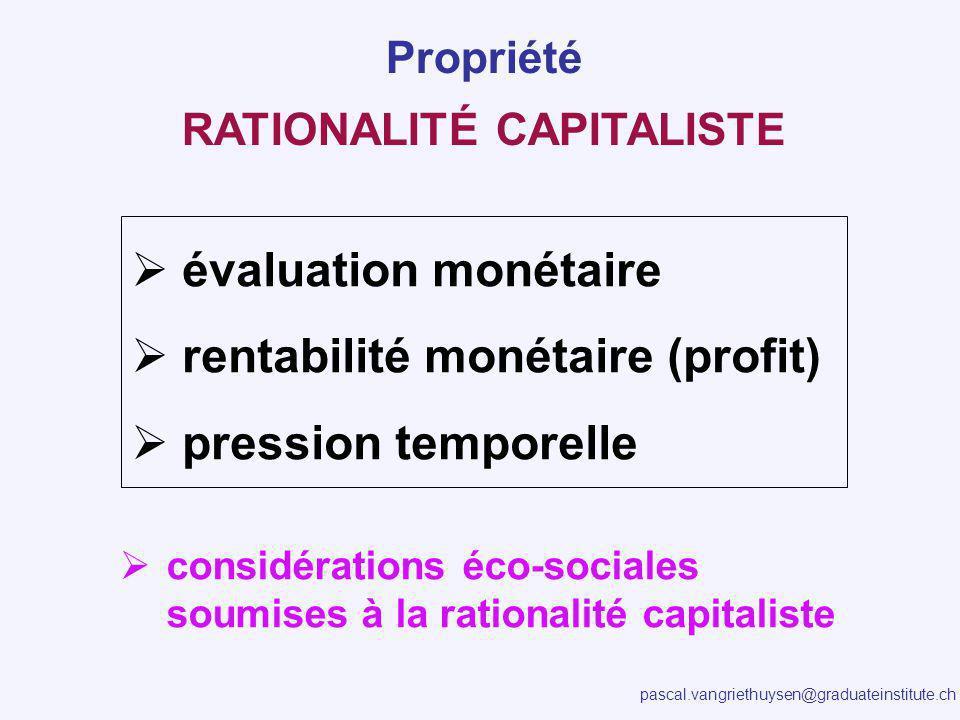 pascal.vangriethuysen@graduateinstitute.ch RATIONALITÉ CAPITALISTE évaluation monétaire rentabilité monétaire (profit) pression temporelle Propriété considérations éco-sociales soumises à la rationalité capitaliste