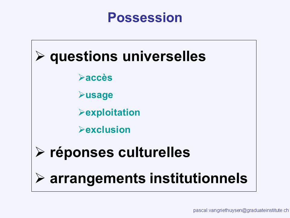 pascal.vangriethuysen@graduateinstitute.ch questions universelles accès usage exploitation exclusion réponses culturelles arrangements institutionnels Possession