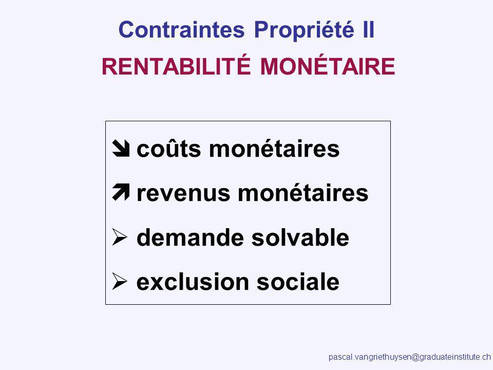 pascal.vangriethuysen@graduateinstitute.ch RENTABILITÉ MONÉTAIRE coûts monétaires revenus monétaires demande solvable exclusion sociale Contraintes Pr