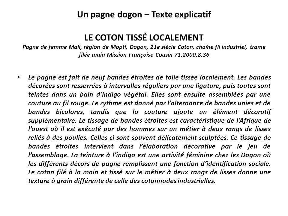 Un pagne dogon – Texte explicatif LE COTON TISSÉ LOCALEMENT Pagne de femme Mali, région de Mopti, Dogon, 21e siècle Coton, chaîne fil industriel, tram