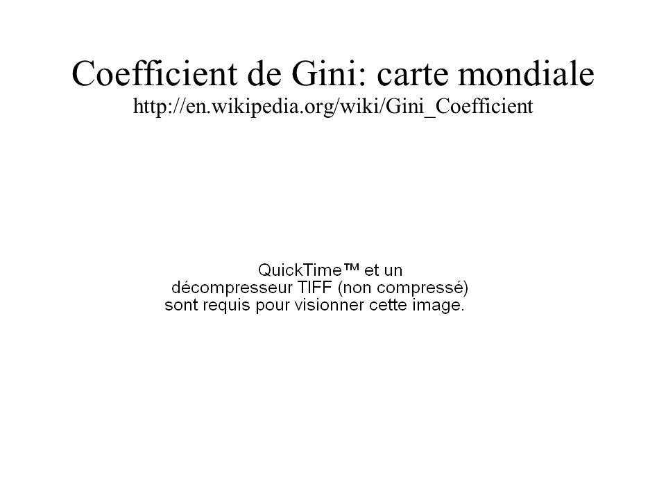 Coefficient de Gini: carte mondiale http://en.wikipedia.org/wiki/Gini_Coefficient