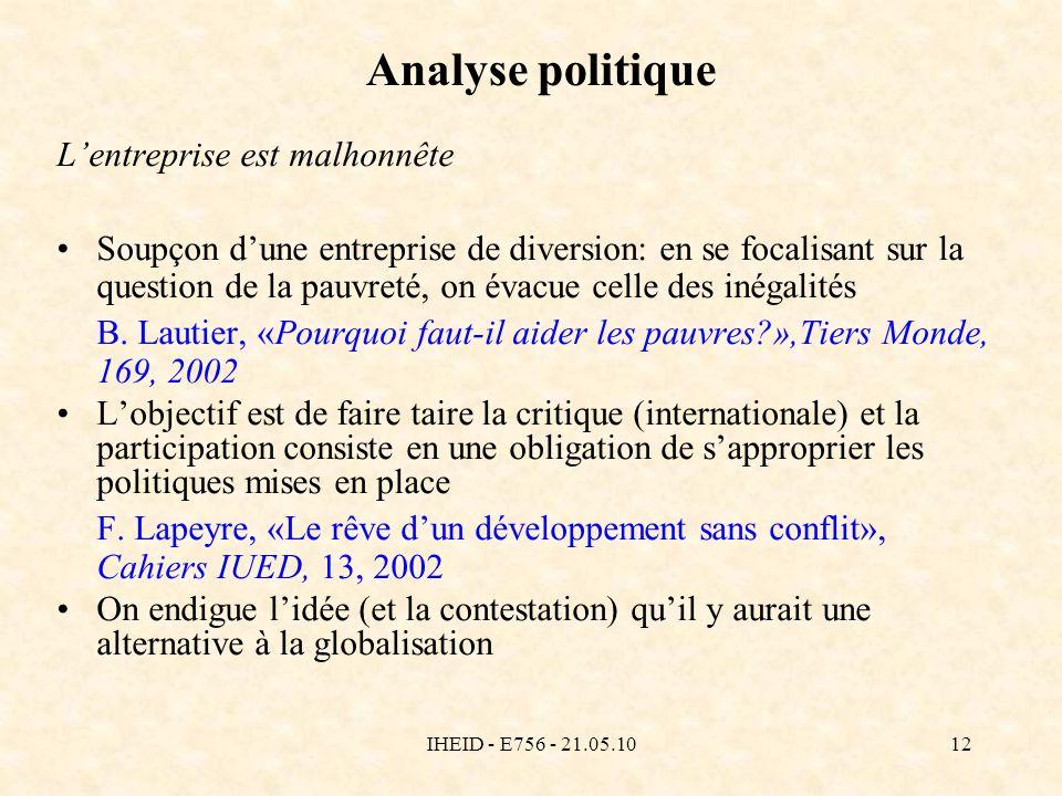 IHEID - E756 - 21.05.1012 Analyse politique Lentreprise est malhonnête Soupçon dune entreprise de diversion: en se focalisant sur la question de la pauvreté, on évacue celle des inégalités B.