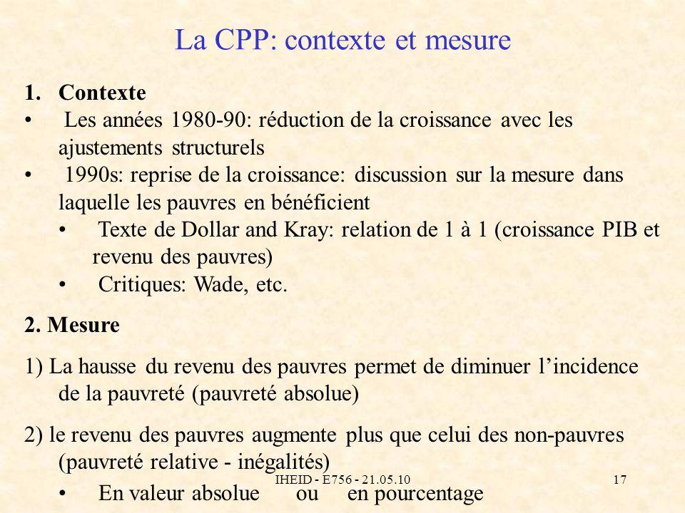 IHEID - E756 - 21.05.1017 La CPP: contexte et mesure 1.Contexte Les années 1980-90: réduction de la croissance avec les ajustements structurels 1990s: