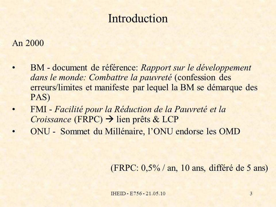 IHEID - E756 - 21.05.103 Introduction An 2000 BM - document de référence: Rapport sur le développement dans le monde: Combattre la pauvreté (confessio