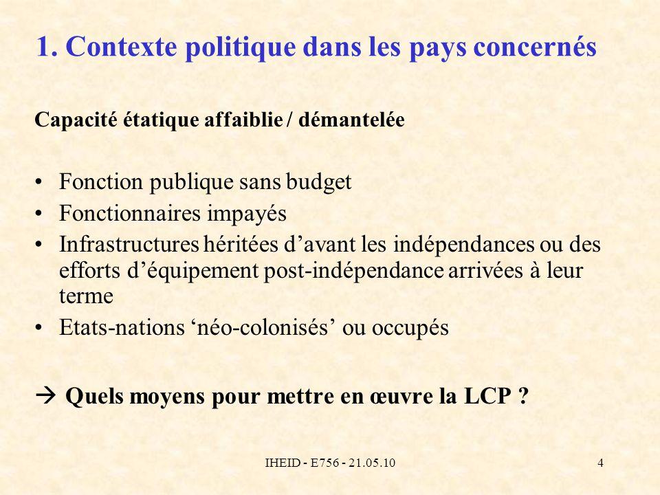 IHEID - E756 - 21.05.104 1. Contexte politique dans les pays concernés Capacité étatique affaiblie / démantelée Fonction publique sans budget Fonction