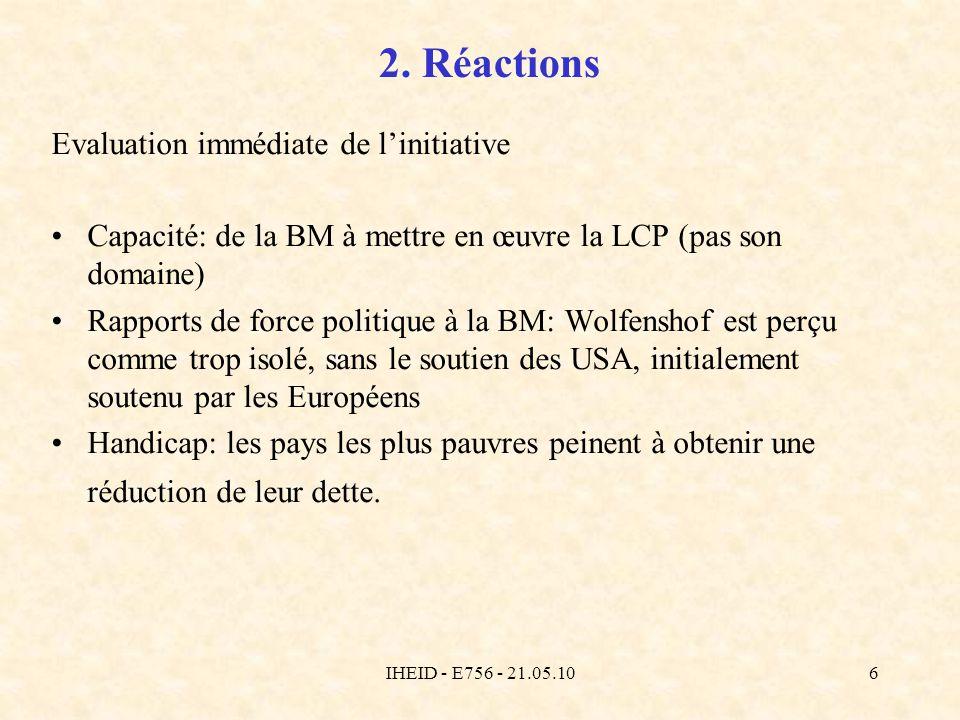 IHEID - E756 - 21.05.106 2. Réactions Evaluation immédiate de linitiative Capacité: de la BM à mettre en œuvre la LCP (pas son domaine) Rapports de fo