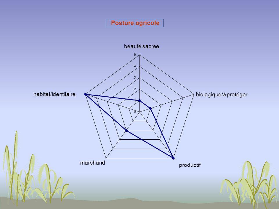 0 1 2 3 4 5 beauté sacrée biologique/à protéger productif marchand habitat/identitaire Posture agricole