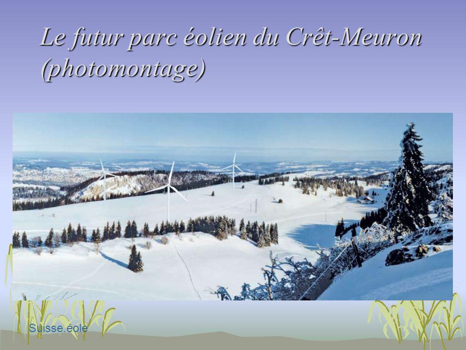 Le futur parc éolien du Crêt-Meuron (photomontage) Suisse.éole