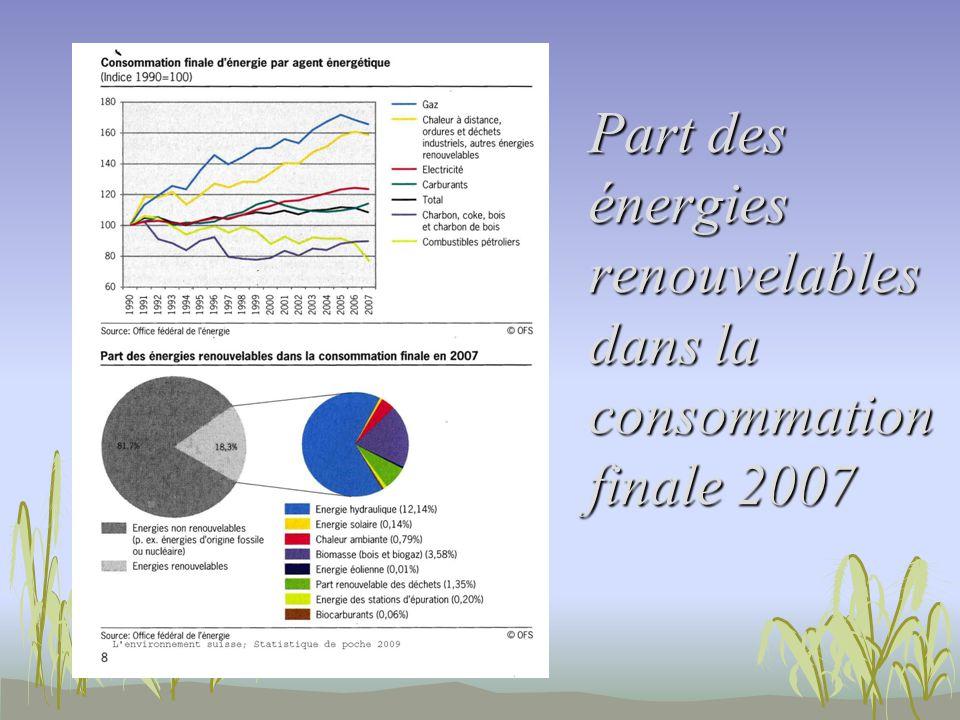 Part des énergies renouvelables dans la consommation finale 2007