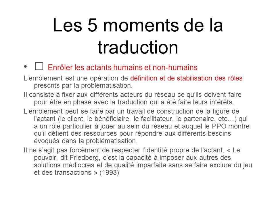 Les 5 moments de la traduction Enrôler les actants humains et non-humains Lenrôlement est une opération de définition et de stabilisation des rôles pr