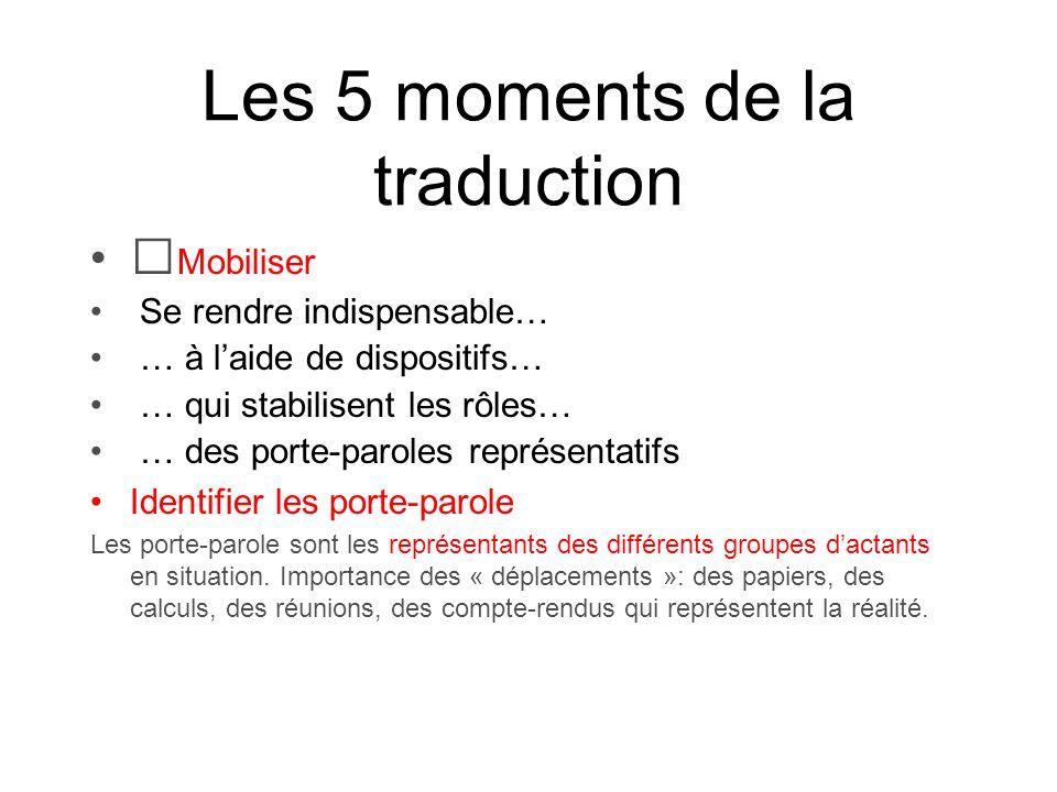Les 5 moments de la traduction Mobiliser Se rendre indispensable… … à laide de dispositifs… … qui stabilisent les rôles… … des porte-paroles représent
