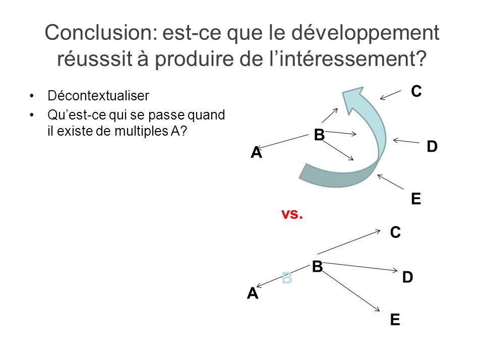 Conclusion: est-ce que le développement réusssit à produire de lintéressement? Décontextualiser Quest-ce qui se passe quand il existe de multiples A?