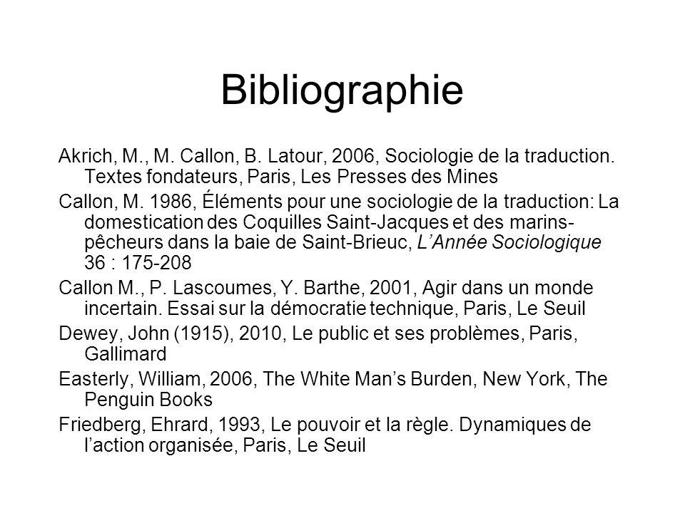 Bibliographie Akrich, M., M. Callon, B. Latour, 2006, Sociologie de la traduction. Textes fondateurs, Paris, Les Presses des Mines Callon, M. 1986, Él