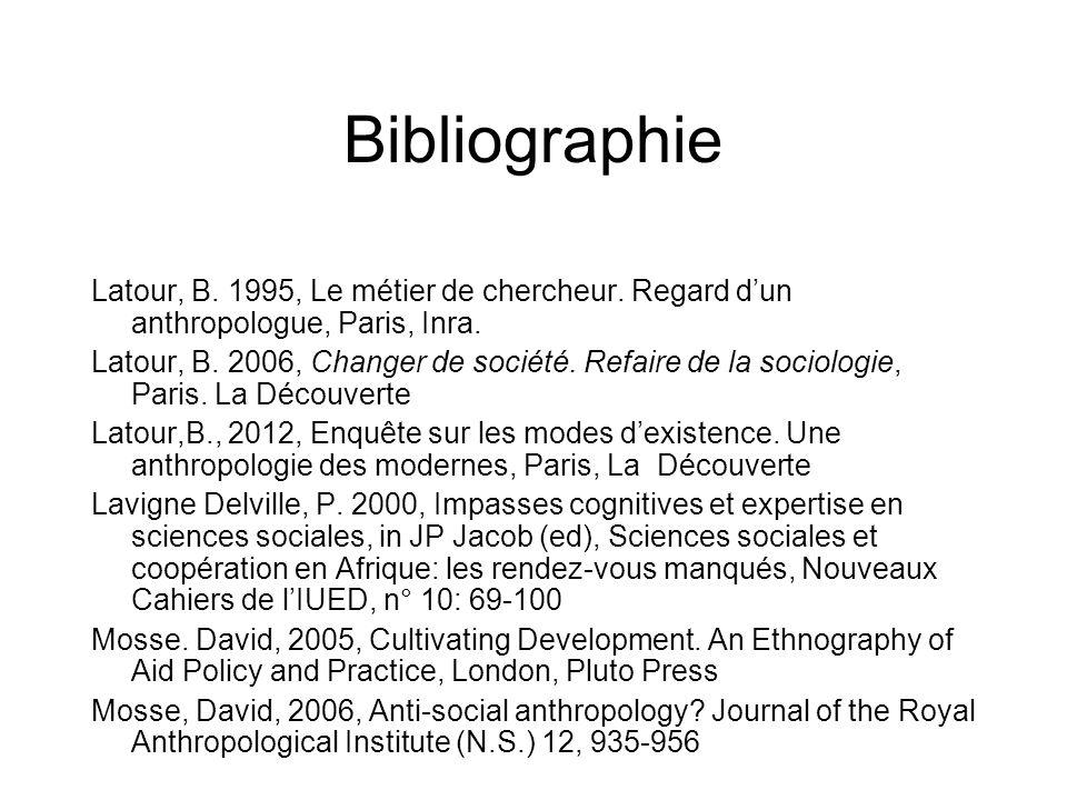 Bibliographie Latour, B. 1995, Le métier de chercheur. Regard dun anthropologue, Paris, Inra. Latour, B. 2006, Changer de société. Refaire de la socio