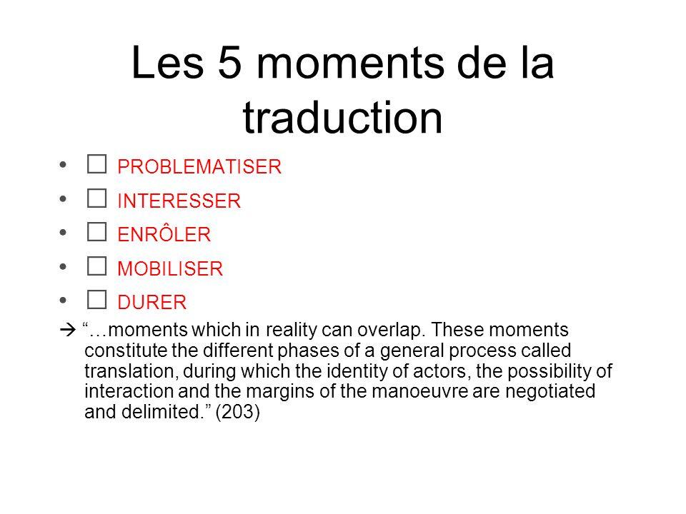 Les 5 moments de la traduction Problématiser les attentes des acteurs La problématisation.