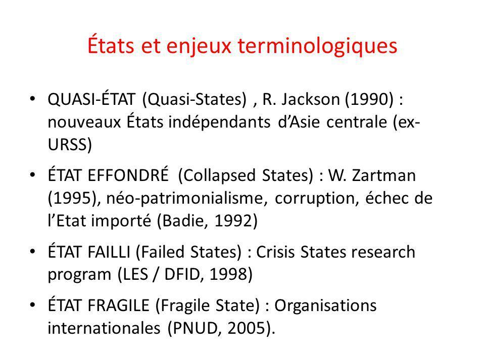 États et enjeux terminologiques QUASI-ÉTAT (Quasi-States), R. Jackson (1990) : nouveaux États indépendants dAsie centrale (ex- URSS) ÉTAT EFFONDRÉ (Co
