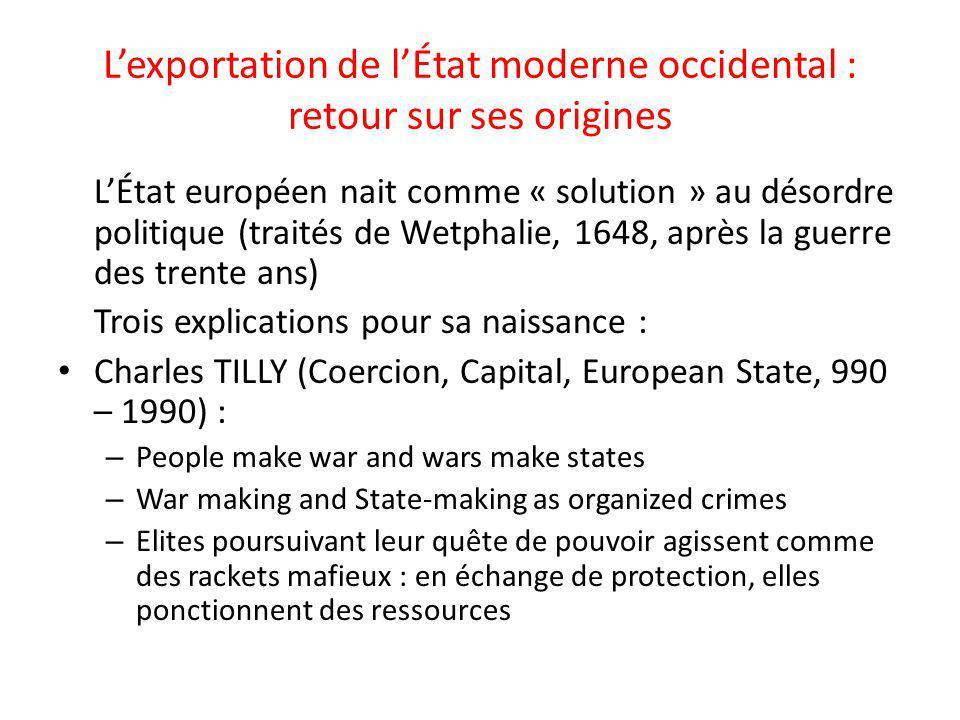 Lexportation de lÉtat moderne occidental : retour sur ses origines LÉtat européen nait comme « solution » au désordre politique (traités de Wetphalie,