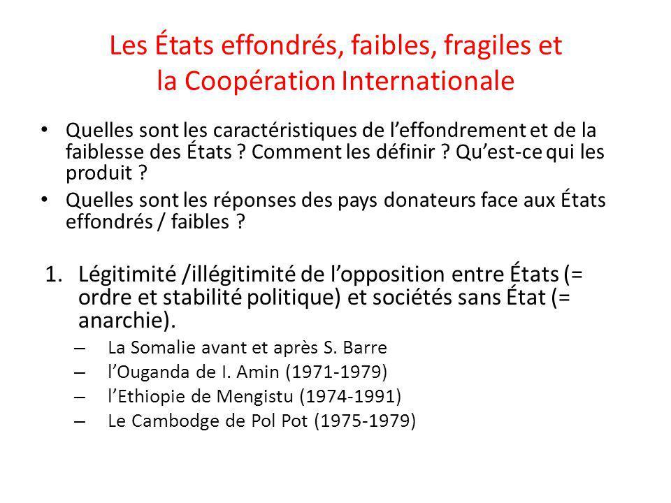 Les États effondrés, faibles, fragiles et la Coopération Internationale Quelles sont les caractéristiques de leffondrement et de la faiblesse des État