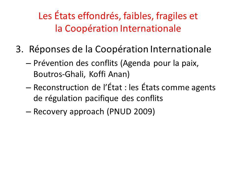 Les États effondrés, faibles, fragiles et la Coopération Internationale 3.Réponses de la Coopération Internationale – Prévention des conflits (Agenda