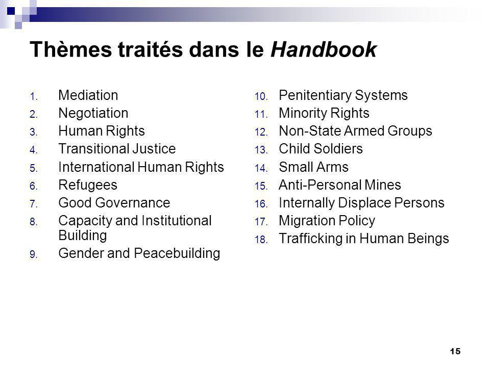 15 Thèmes traités dans le Handbook 1. Mediation 2.
