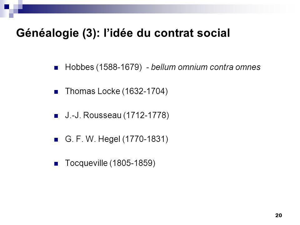 20 Généalogie (3): lidée du contrat social Hobbes (1588-1679) - bellum omnium contra omnes Thomas Locke (1632-1704) J.-J.