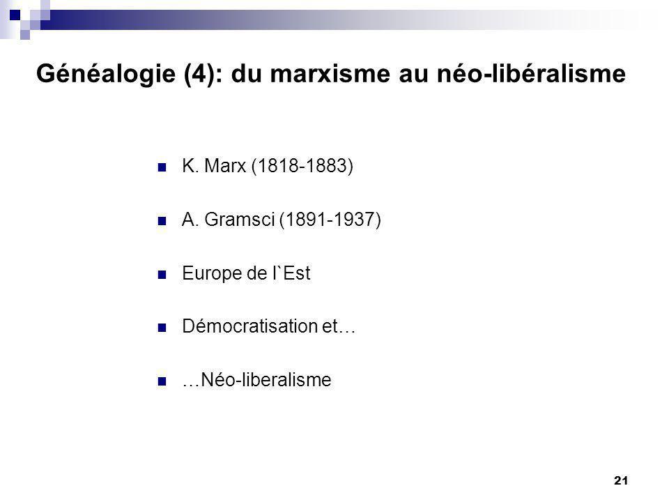 21 Généalogie (4): du marxisme au néo-libéralisme K.
