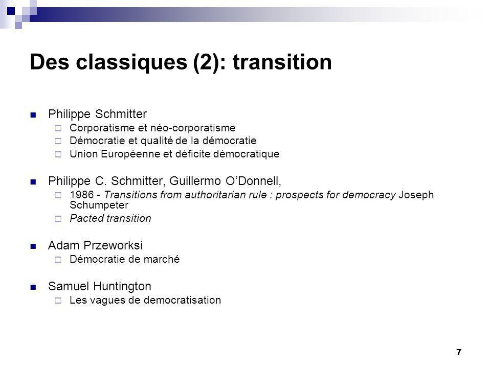 7 Des classiques (2): transition Philippe Schmitter Corporatisme et néo-corporatisme Démocratie et qualité de la démocratie Union Européenne et déficite démocratique Philippe C.