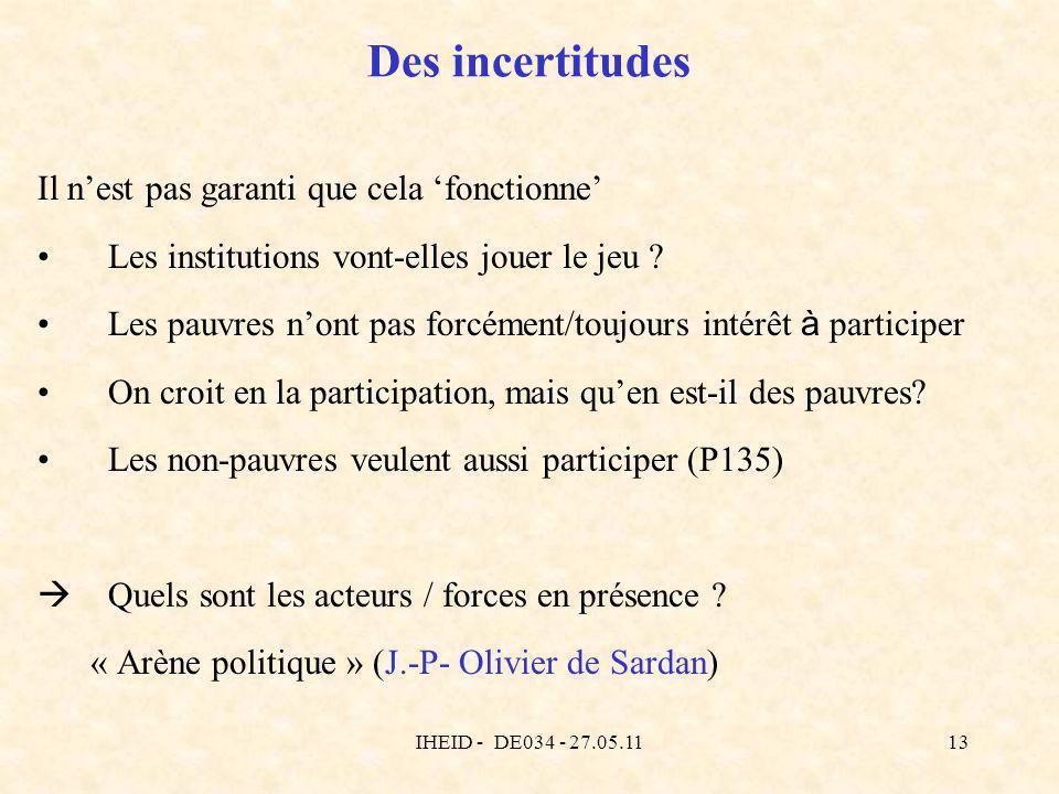 IHEID - DE034 - 27.05.1113 Des incertitudes Il nest pas garanti que cela fonctionne Les institutions vont-elles jouer le jeu ? Les pauvres nont pas fo