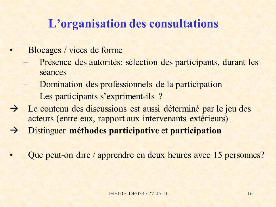 IHEID - DE034 - 27.05.1116 Lorganisation des consultations Blocages / vices de forme –Présence des autorités: sélection des participants, durant les s