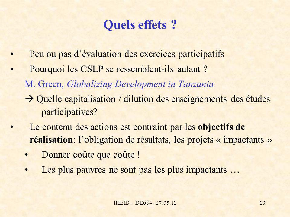 IHEID - DE034 - 27.05.1119 Quels effets ? Peu ou pas dévaluation des exercices participatifs Pourquoi les CSLP se ressemblent-ils autant ? M. Green, G