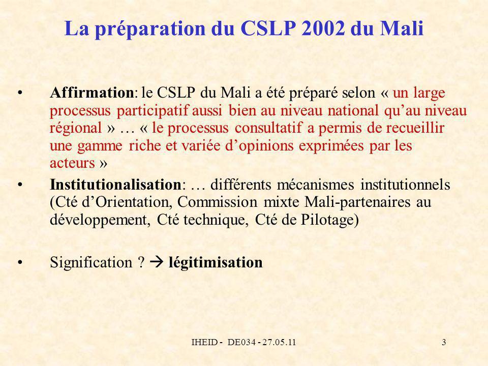 IHEID - DE034 - 27.05.113 La préparation du CSLP 2002 du Mali Affirmation: le CSLP du Mali a été préparé selon « un large processus participatif aussi