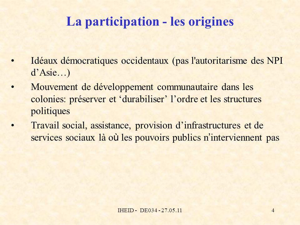 IHEID - DE034 - 27.05.114 La participation - les origines Idéaux démocratiques occidentaux (pas l'autoritarisme des NPI dAsie…) Mouvement de développe