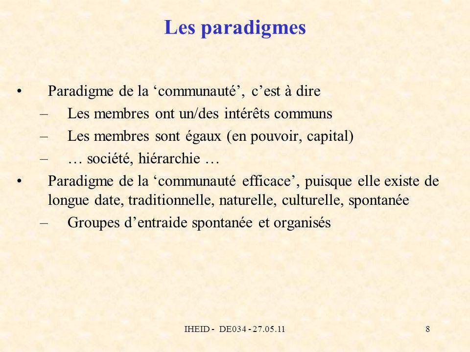 IHEID - DE034 - 27.05.118 Les paradigmes Paradigme de la communauté, cest à dire –Les membres ont un/des intérêts communs –Les membres sont égaux (en