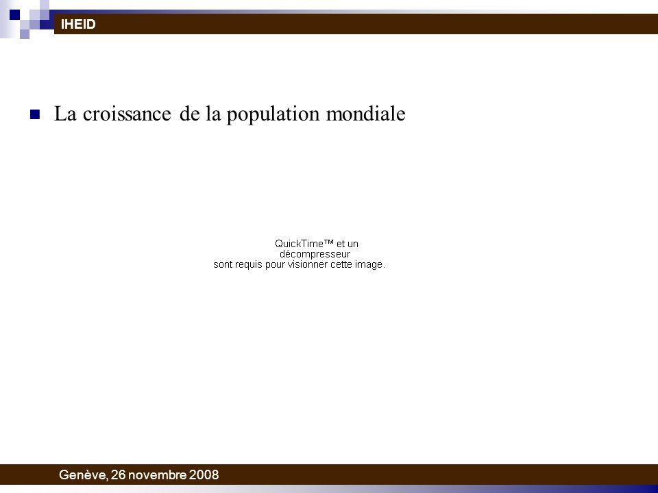 La croissance de la population mondiale IHEID Genève, 26 novembre 2008