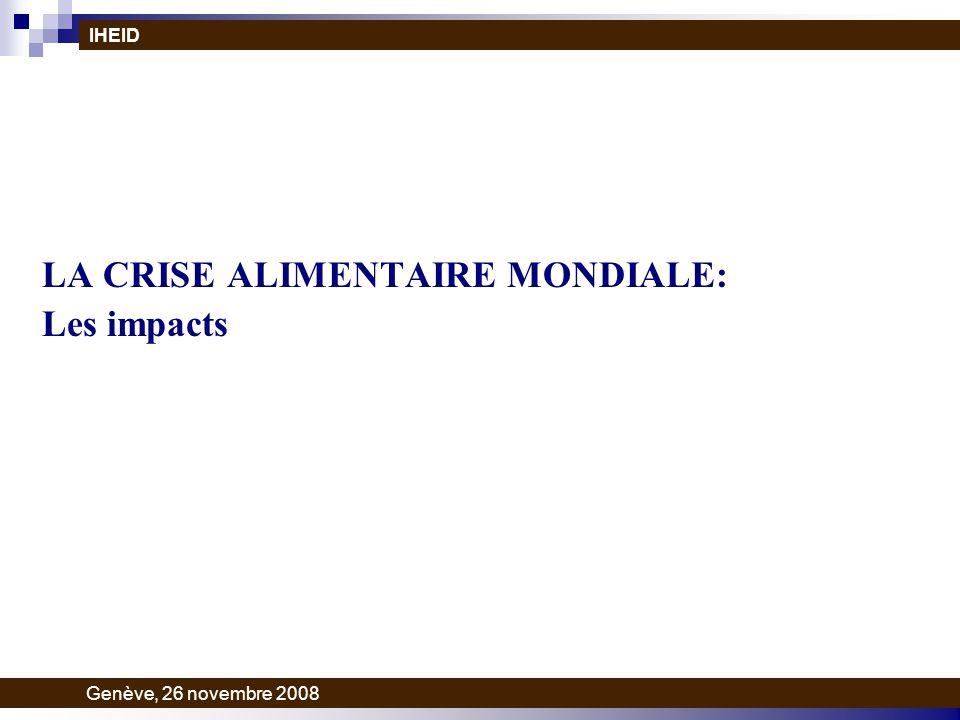 LA CRISE ALIMENTAIRE MONDIALE: Les impacts IHEID Genève, 26 novembre 2008