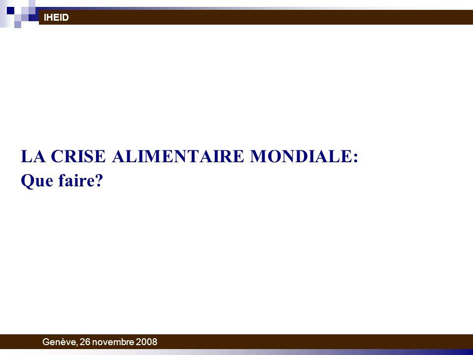 LA CRISE ALIMENTAIRE MONDIALE: Que faire? IHEID Genève, 26 novembre 2008