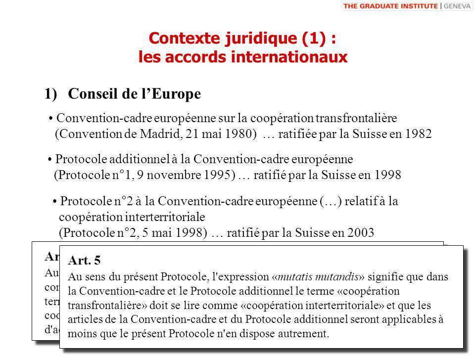 1)Conseil de lEurope Convention-cadre européenne sur la coopération transfrontalière (Convention de Madrid, 21 mai 1980) … ratifiée par la Suisse en 1982 Protocole additionnel à la Convention-cadre européenne (Protocole n°1, 9 novembre 1995) … ratifié par la Suisse en 1998 Contexte juridique (1) : les accords internationaux Protocole n°2 à la Convention-cadre européenne (…) relatif à la coopération interterritoriale (Protocole n°2, 5 mai 1998) Art.