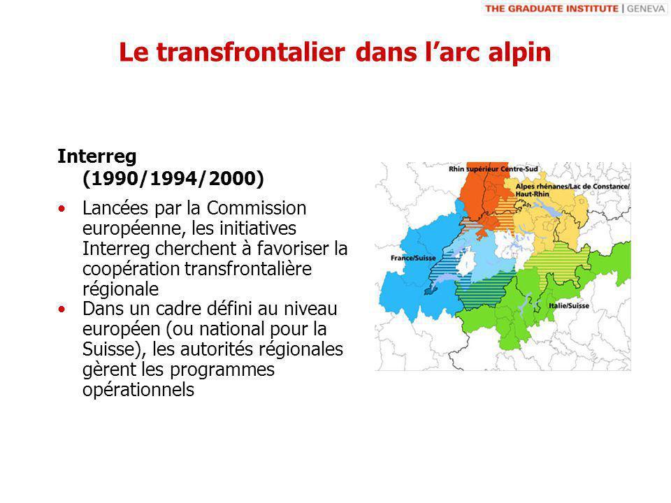 Lancées par la Commission européenne, les initiatives Interreg cherchent à favoriser la coopération transfrontalière régionale Dans un cadre défini au niveau européen (ou national pour la Suisse), les autorités régionales gèrent les programmes opérationnels Interreg (1990/1994/2000) Le transfrontalier dans larc alpin