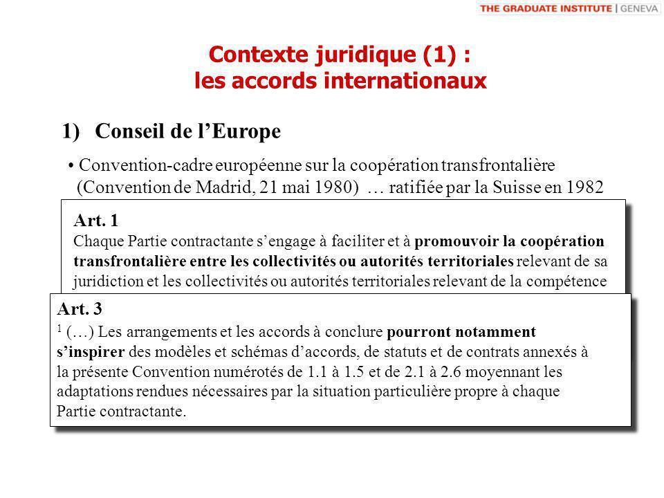 1)Conseil de lEurope Convention-cadre européenne sur la coopération transfrontalière (Convention de Madrid, 21 mai 1980) … ratifiée par la Suisse en 1982 Art.