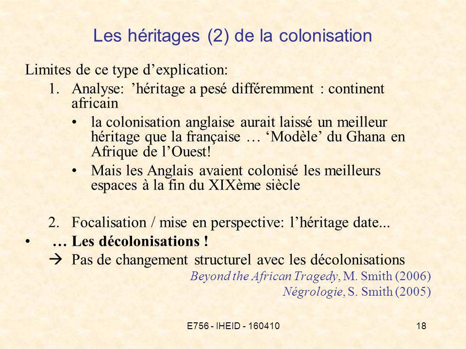 E756 - IHEID - 16041018 Limites de ce type dexplication: 1.Analyse: héritage a pesé différemment : continent africain la colonisation anglaise aurait laissé un meilleur héritage que la française … Modèle du Ghana en Afrique de lOuest.