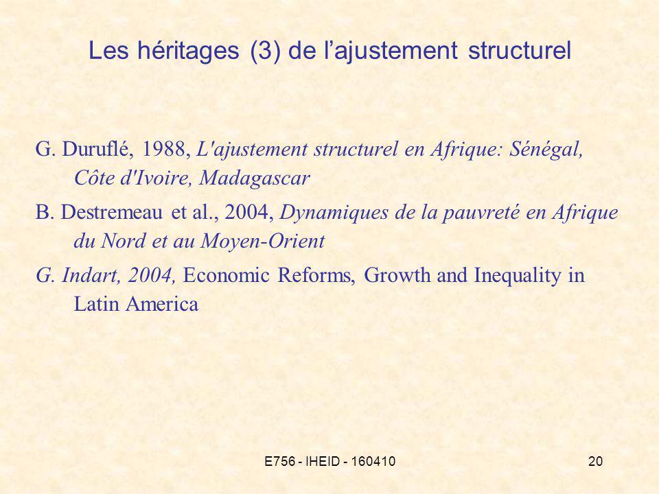 E756 - IHEID - 16041020 G. Duruflé, 1988, L'ajustement structurel en Afrique: Sénégal, Côte d'Ivoire, Madagascar B. Destremeau et al., 2004, Dynamique