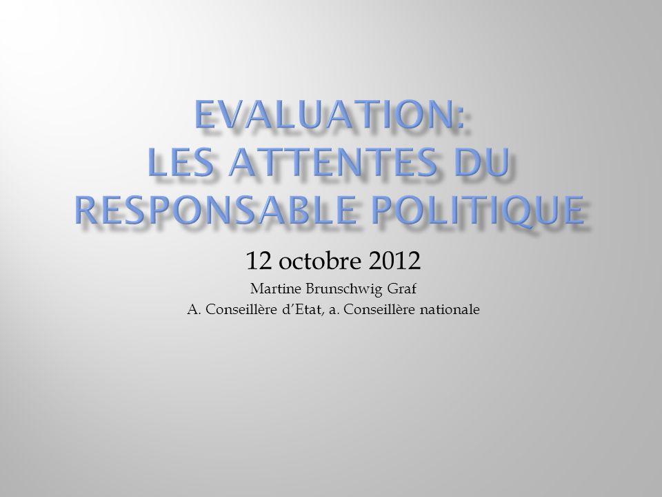 12 octobre 2012 Martine Brunschwig Graf A. Conseillère dEtat, a. Conseillère nationale