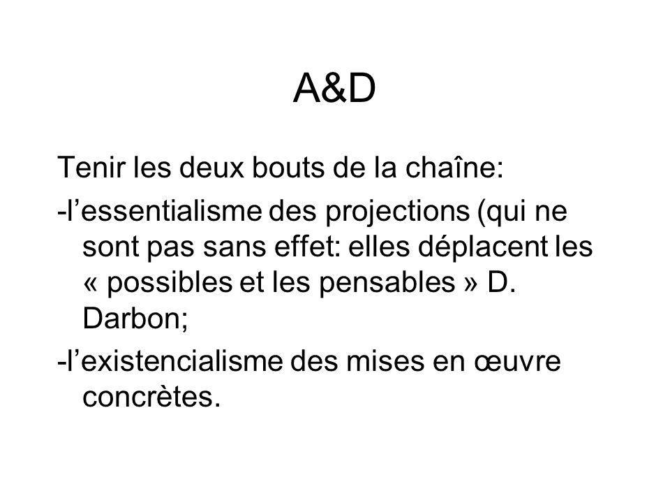 A&D Tenir les deux bouts de la chaîne: -lessentialisme des projections (qui ne sont pas sans effet: elles déplacent les « possibles et les pensables » D.